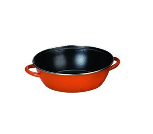 Caja de 4 uds de Sarten Honda Con 2 Asas Acero Esmaltado Orange 32 Cms, Valido Para Todas Las Cocinas Ibili 916732