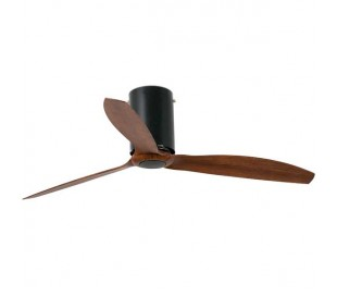 Ventilateur de plafond Faro Mini Tube Fan Ø128 Cms Noir Mat 3 Pales Bois