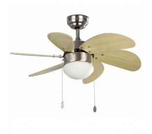 Ventilateur au plafond nickel mat avec lumière ,PALAO